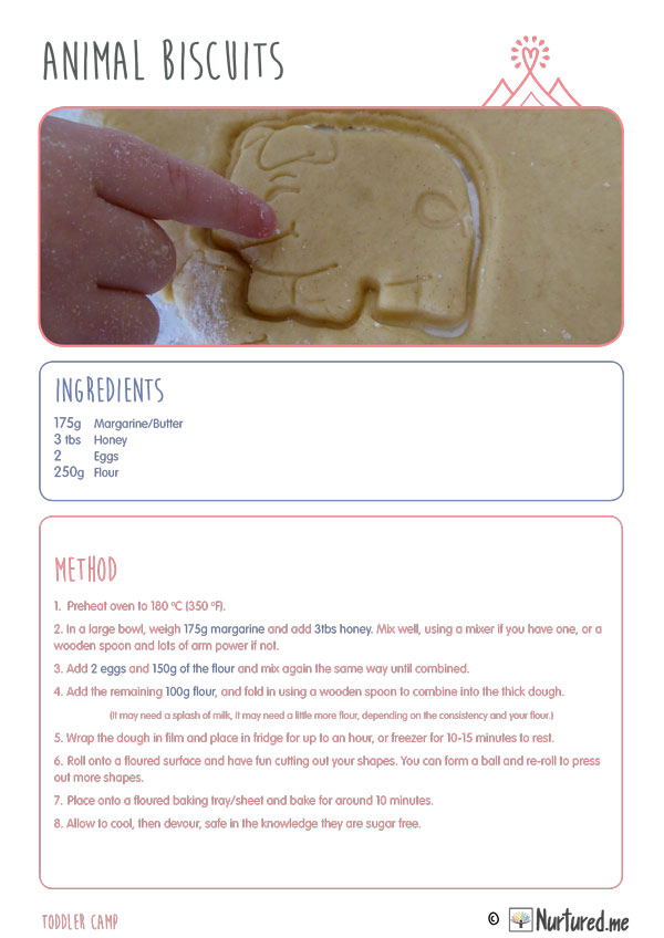 make sugar free animal biscuits with nurtured toddler camp